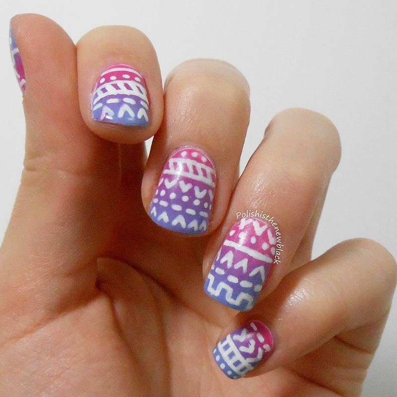 Aztec Nail art  nail art by Polishisthenewblack