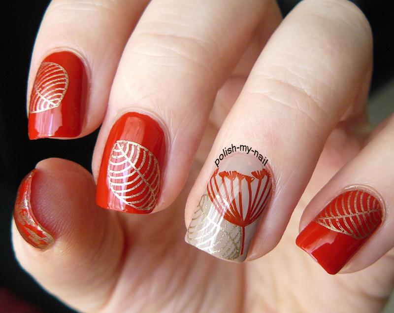 Golden Fall nail art by Ewlyn