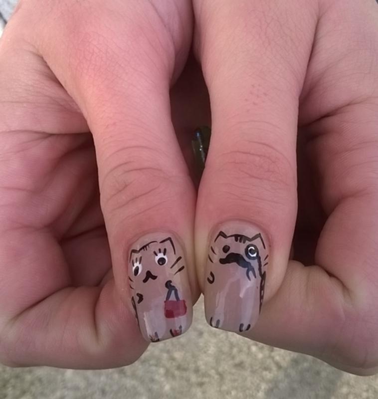 Nailing Movember: Pusheen Nails nail art by Mila