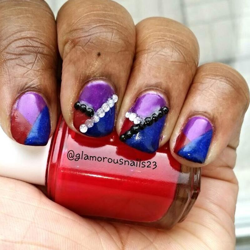 Striping tape & Studs nail art by glamorousnails23