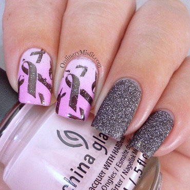 CuppaForCansa - Pink, black and bling nail art by Michelle