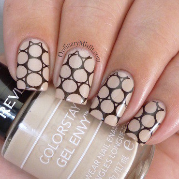 Nude with black stamping nail art by Michelle
