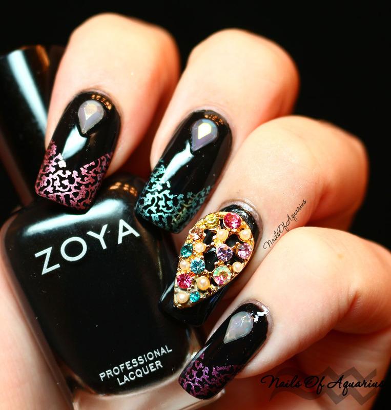 Magical Gems nail art by Karolyn