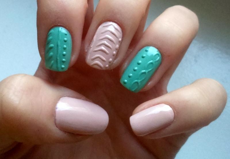 Knitted nails ;) nail art by Lakierowniczka