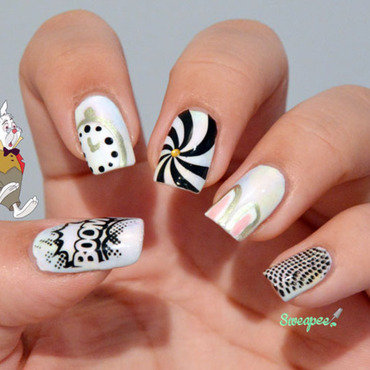 Alice in wonderland - Rabbit nail art by Sweapee