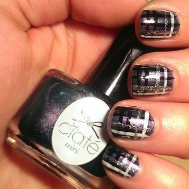 Duochrome Plaid nail art by Steph