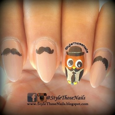 Owl moustache 20nails  20stylethosenails 20 3  thumb370f