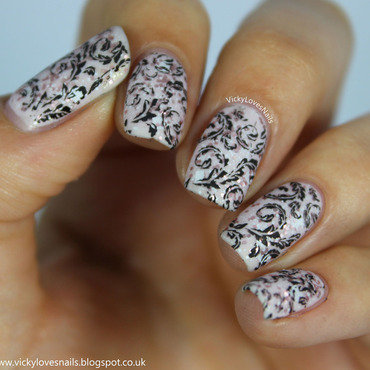 Pink, Glitter and Black Stamping nail art by Vicky Standage