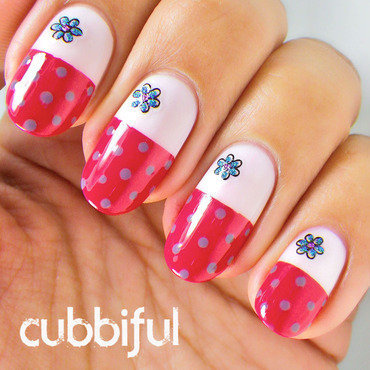 Dots & Daisies Nail Art nail art by Cubbiful