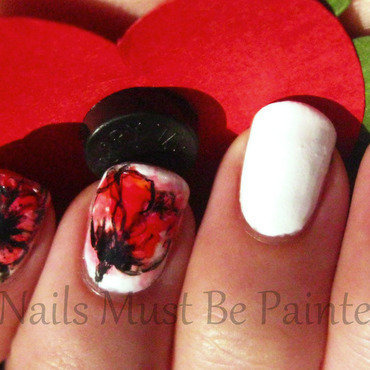 Watercolour Poppies nail art by Emily