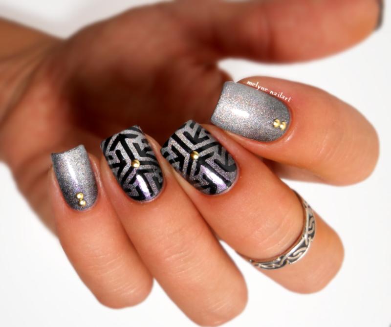 gradient nail and stamping nail art by melyne nailart
