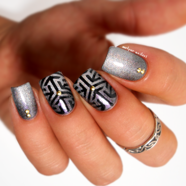 gradient nail and stamping nail art by melyne nailart