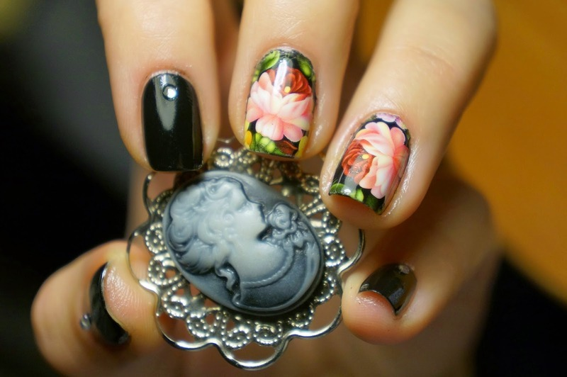 Pretty Black Peony Flower Nails nail art by Born Pretty