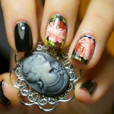 Pretty Black Peony Flower Nails nail art by Born Pretty