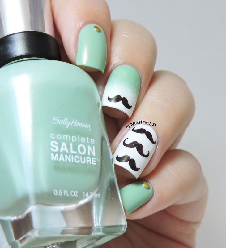 Cute Gradient Green Mustache Nails nail art by Born Pretty