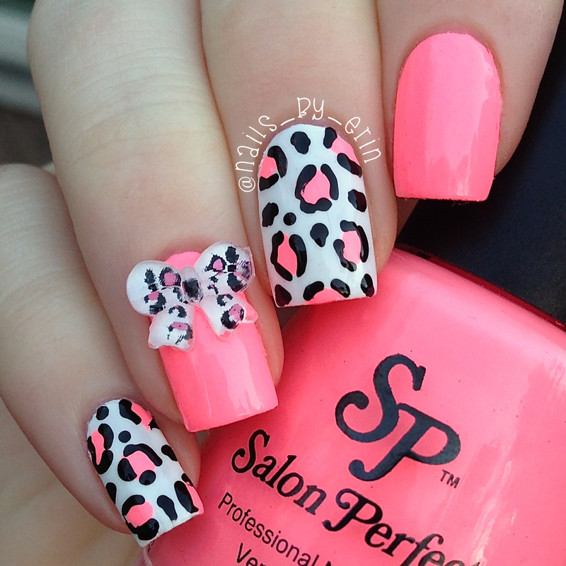 Pink Leopard and 3D Bow Nails nail art by Erin