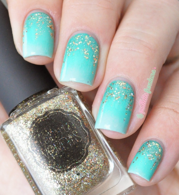 Mint and gold gradient nail art by nathalie lapaillettefrondeuse