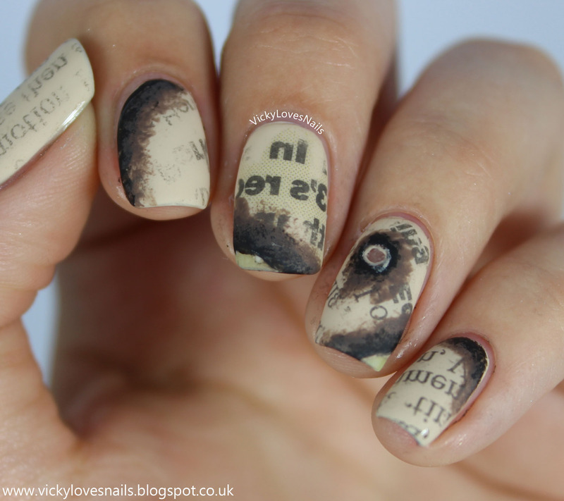 Burnt Newspaper Nails nail art by Vicky Standage