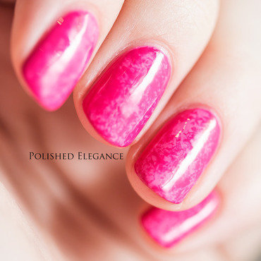 Pink saran wrap nail art by Lisa