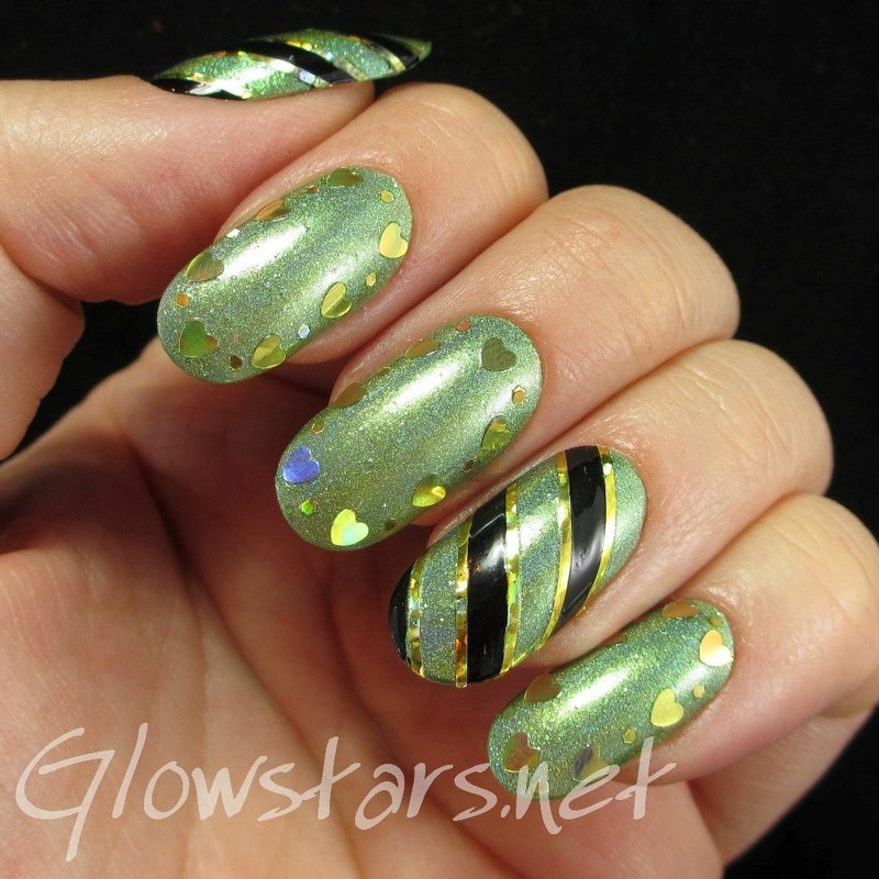 Green holo, stripes and hearts nail art by Vic 'Glowstars' Pires