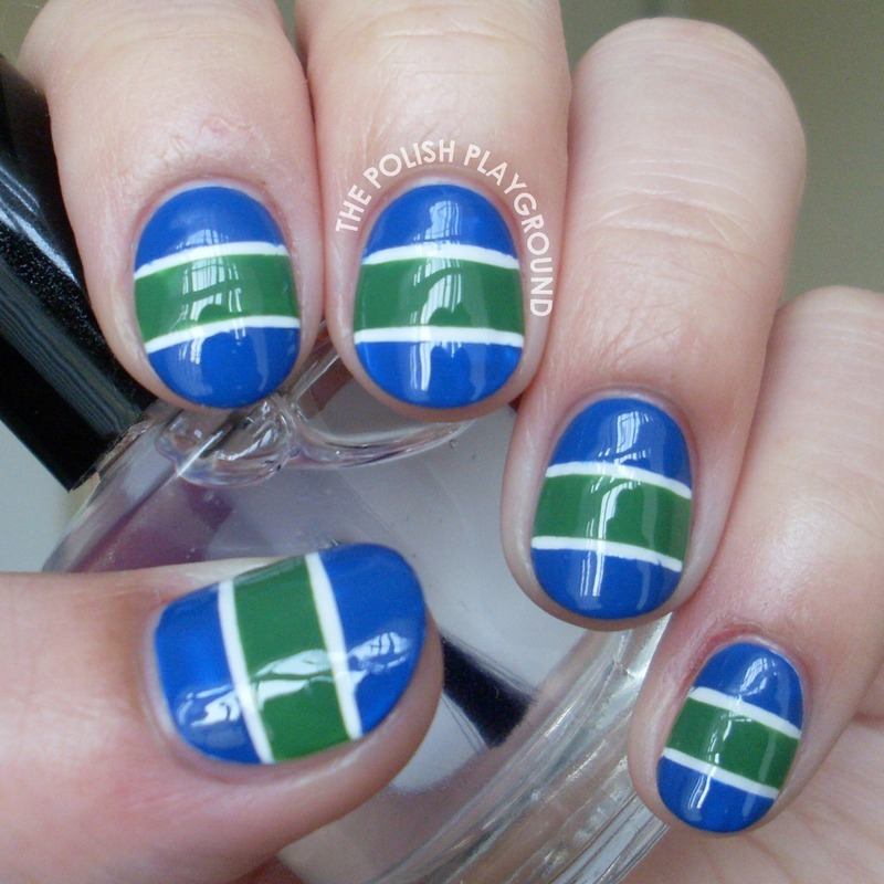 Vancouver Canucks Hockey Team Jersey Inspired Nails nail art by Lisa N