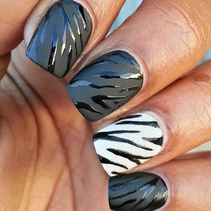 Matte & Glossy Zebra Print nail art by Tonya