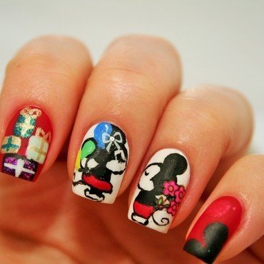 Mickey`s and Minnie`s Birthday nail art by Jane