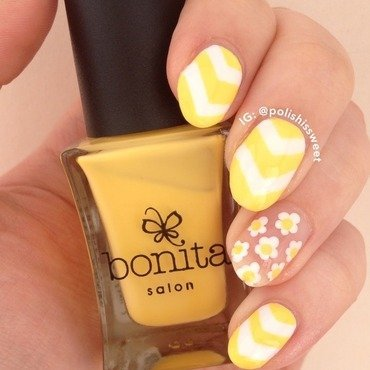 Negative Space Flowers & Single Chevrons! nail art by PolishIsSweet