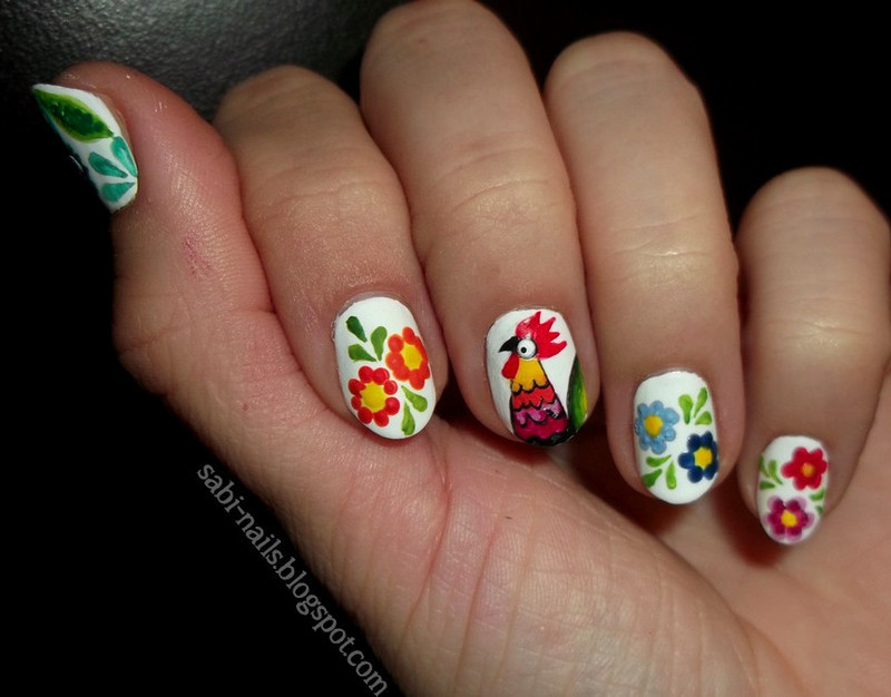 Polish folk nail art by Sabina