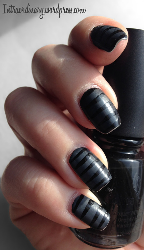 Black Matte/Glossy Striped Nails nail art by Katie