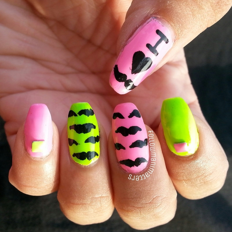 Movember Mustache nails nail art by Manisha Manimatters