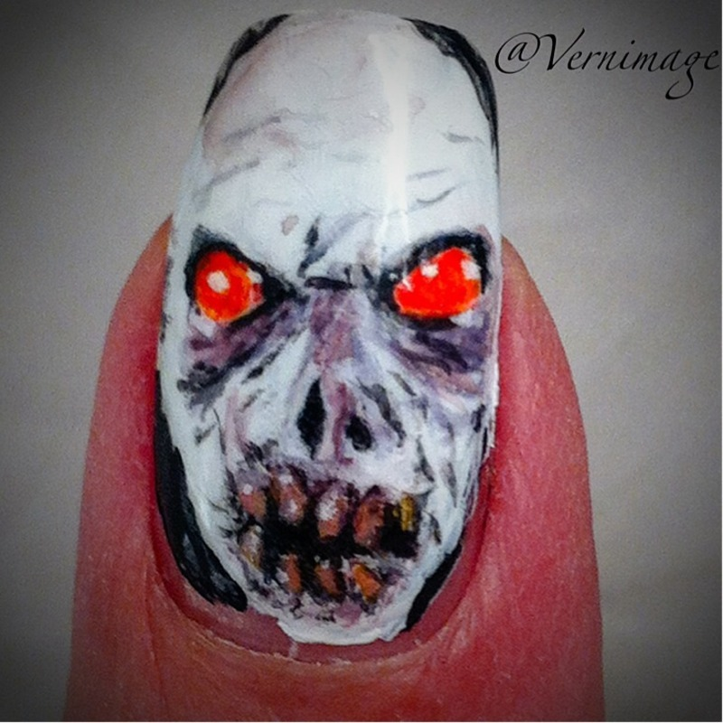 Halloween zombie theme nail art by Vernimage