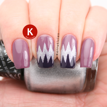Jagged mauve, silver and purple zizags nail art by Claire Kerr