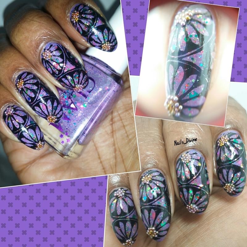 Purple Burst!  nail art by Nails_Divine