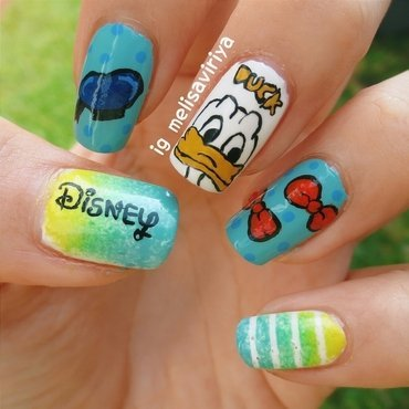 Donald Duck nail art by melisa viriya