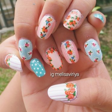 flowers nail art by melisa viriya