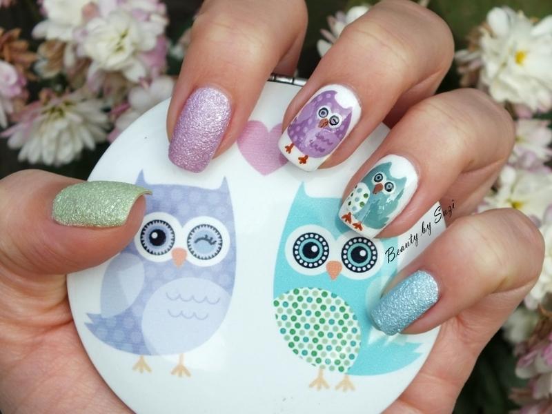 Pastel Owls nail art by Suzi - Beauty by Suzi