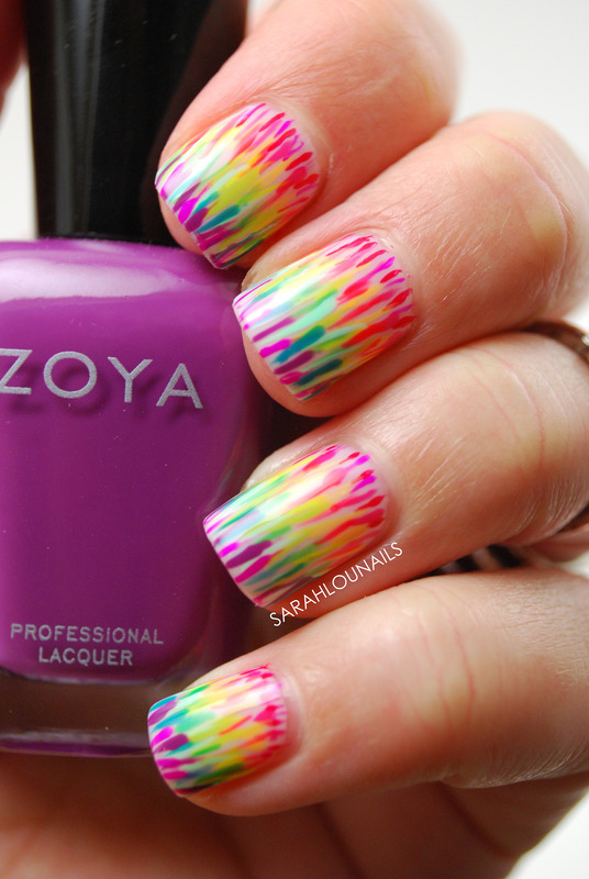 Rainbow Lines! nail art by Sarah S