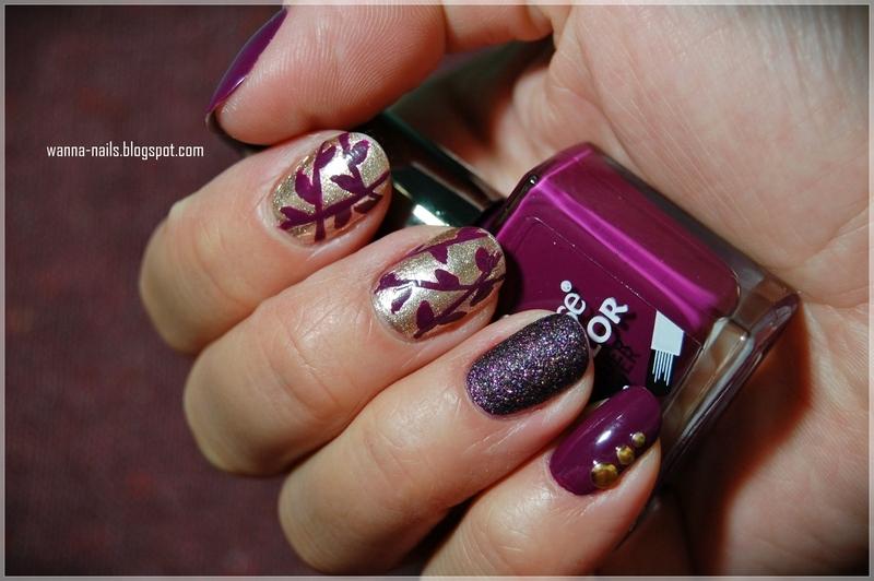 Purple autumn nail art by Oana Chiciu