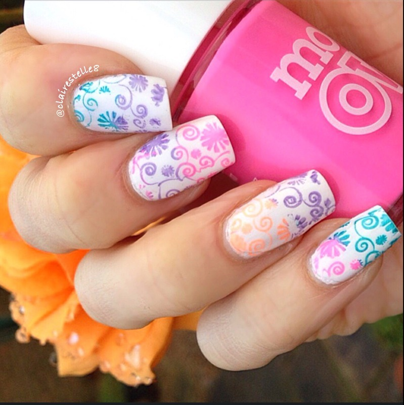 Models Own Neon Stamping nail art by Claire O'Sullivan