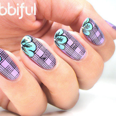 Flowers Over Stamping Plaid Nails  nail art by Cubbiful