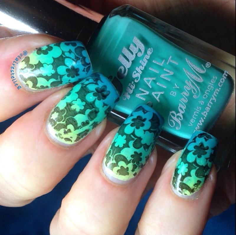 Green stamped gradient nail art by Claire O'Sullivan