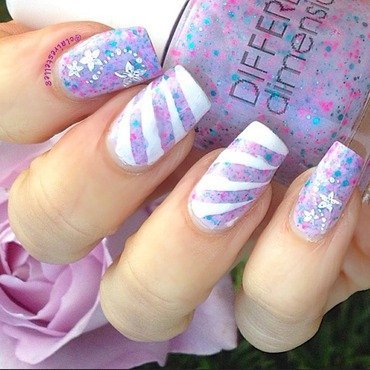 Lilac Striping Mani nail art by Claire O'Sullivan