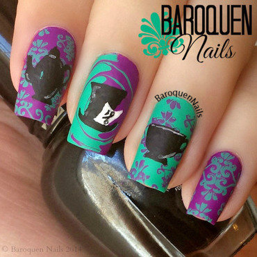 The Mad Hatter's Funky Tea Party nail art by BaroquenNails