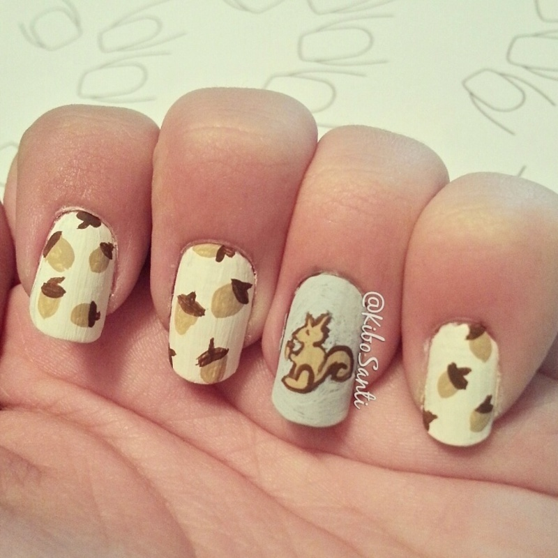 November challenge day 5 acorns  nail art by KiboSanti