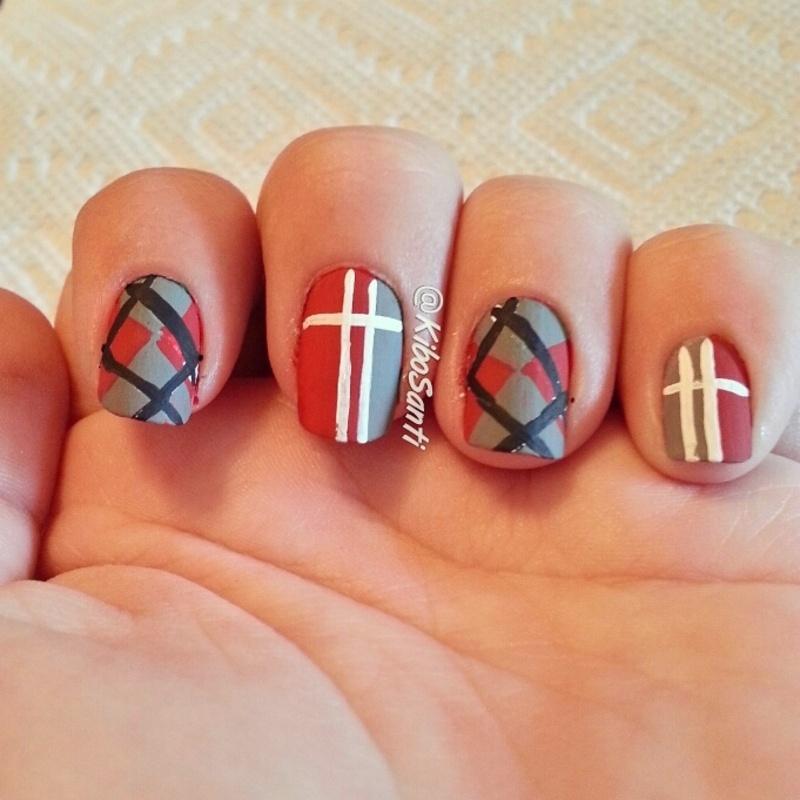 November challenge day 8 Fall Fashion  nail art by KiboSanti