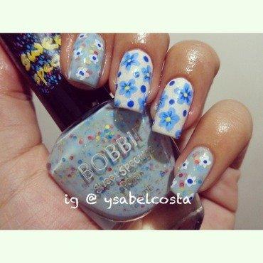 Blue flowers nail art by Katrina Ysabel Costa