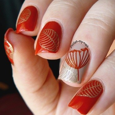 Classical Red & Golden Leaf Stamping Nails For Fall nail art by Born Pretty