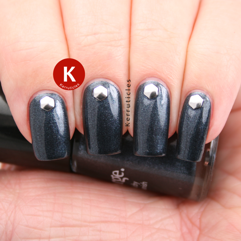 Shimmery grey with hexagonal silver studs nail art by Claire Kerr
