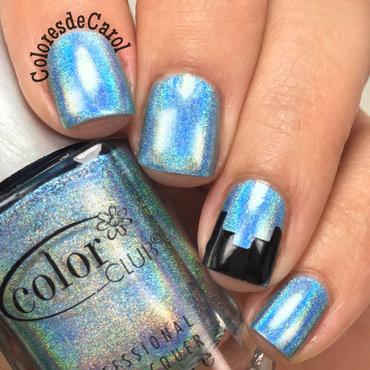 Blue Holo nail art by Carolina Garcia
